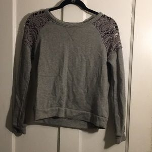 Grey sweater with lace shoulder detail